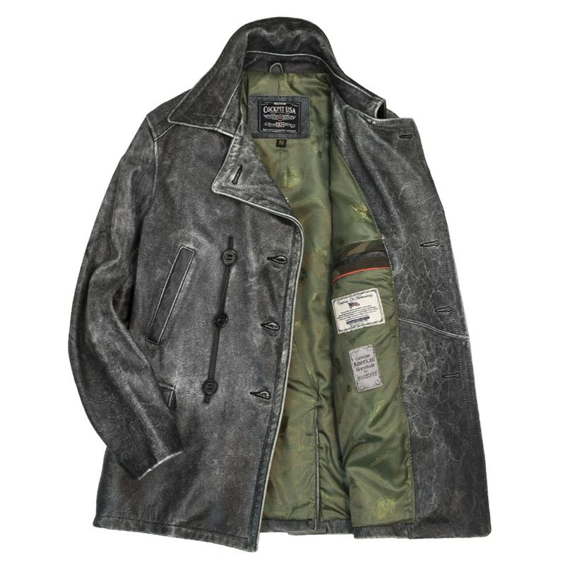 Distressed Leather Peacoat - Z21P013
