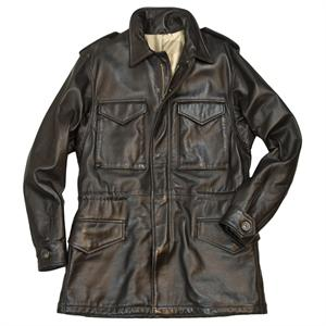Leather M-65 Field Jacket in Brown